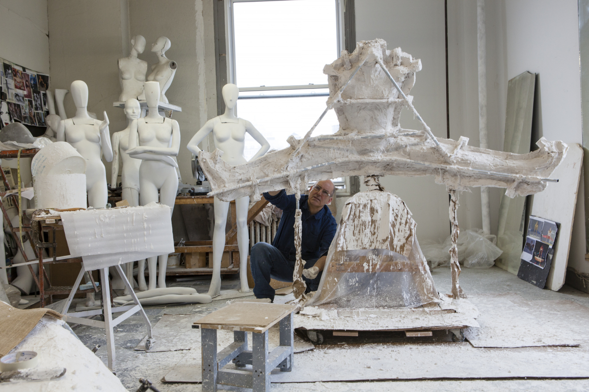 Sculptor Michael Evert in His Studio, With Mannequin Mold  From Left: Model, Diane Von Furstenberg, Model 1, Model 2, 2014: Collection of Ralph Pucci