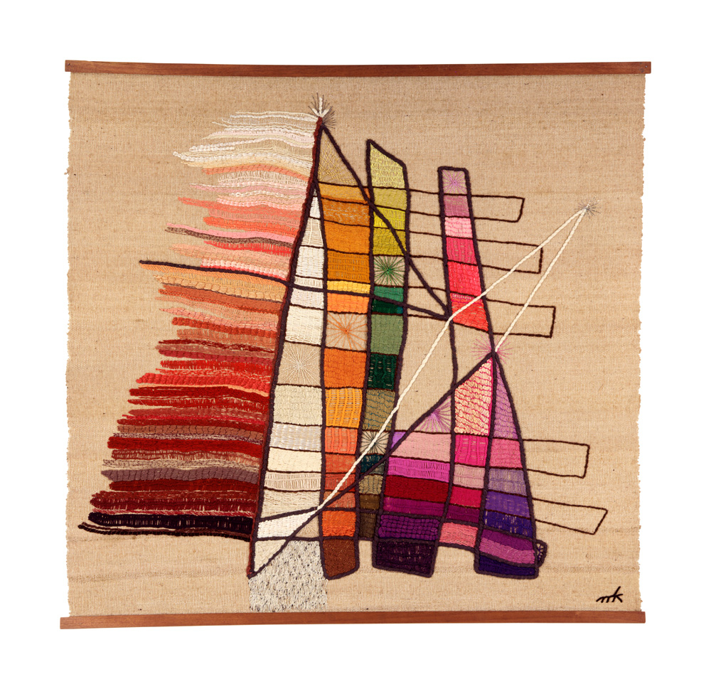 Mariska Karasz: Transcendence, 1958; Wool, cotton, silk, DMC cotton floss, Lurex fibers, mercerized cotton thread; 59 x 61 1/2 in.; Gift of Rosamond Berg Bassett and Solveig Cox, 1992; Photo by Eva Heyd