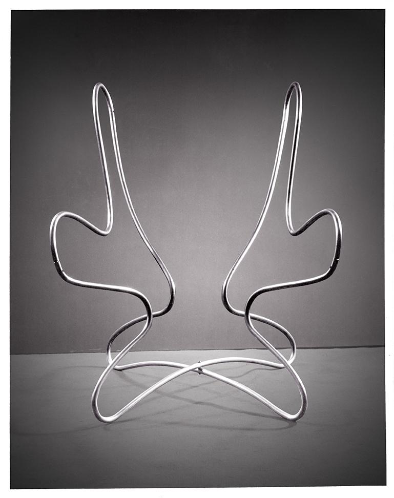 Eva Zeisel: Frame for a Folding Chair, 1949; Chrome-plated tubular steel; 28 1/2 x 26 x 26 1/2 in.; Courtesy of Jean Richards