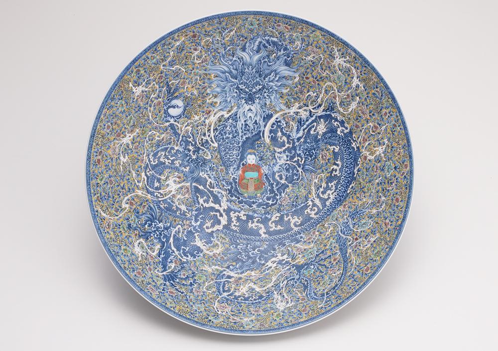 Yuki Hayama: Large Bowl with Emperor Long Sun, 2006-07<br> Porcelain<br> 6 7/8 x 22 3/8 x 22 3/8 in. (17.5 x 56.9 x 56.9 cm) <br> Courtesy 21st Century Museum of Contemporary Art, Kanazawa<br> ©HAYAMA Yuki<br> Photo: SAIKI Taku