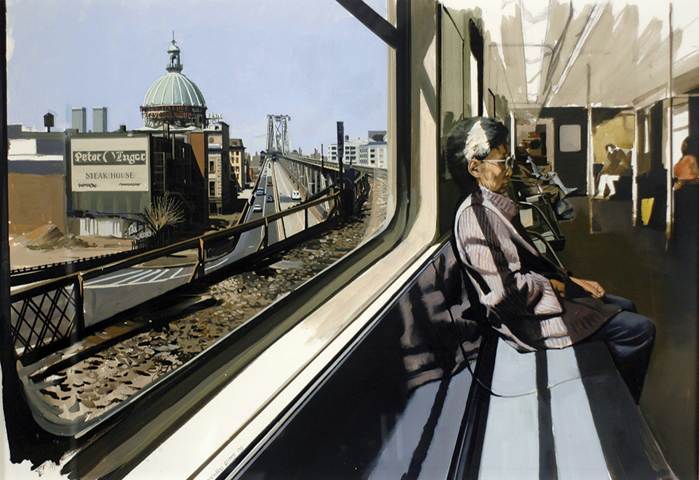 Richard Estes: M Train on Route to Manhattan Approaches the Williamsburg Bridge, 1995; Oil on illustration board; 20 x 30 in. (50.8 x 76.2 cm); Courtesy of Louis K. Meisel Gallery