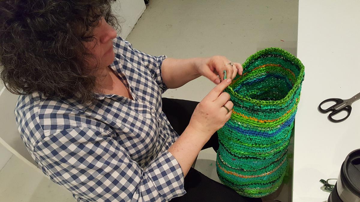 Antonia A. Perez at work at Cuchifritos Gallery (New York, NY)