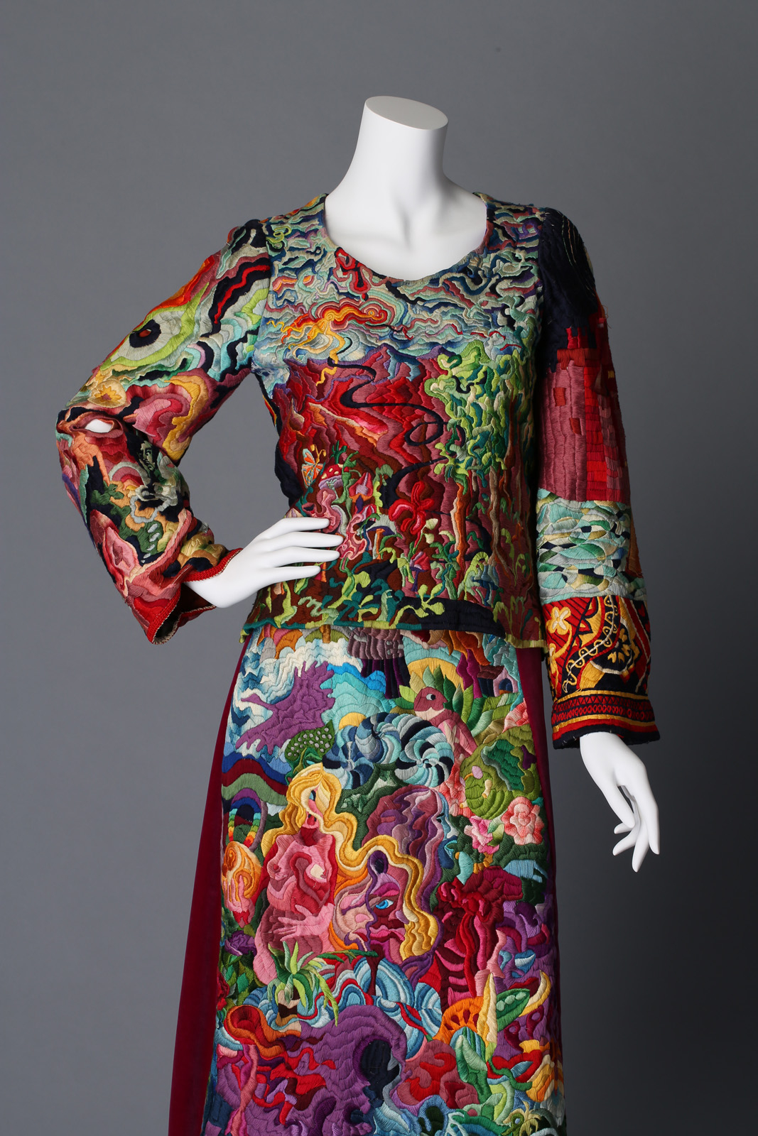 Mary Ann Schildknecht: Embroidered Skirt and Top Ensemble, c. 1972