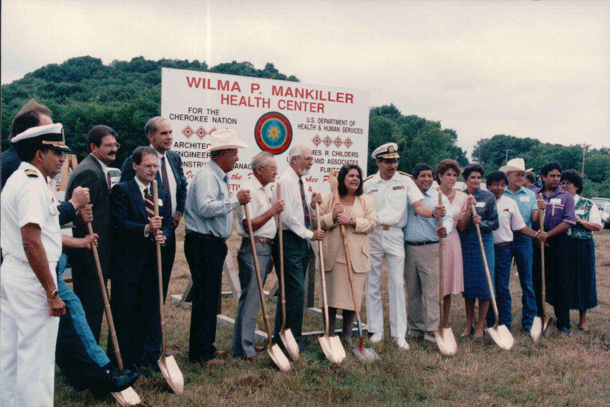 Wilma Mankiller and colleagues hold ceremonial shovels at the groundbreaking of the Wilma P. Mankiller Health Center