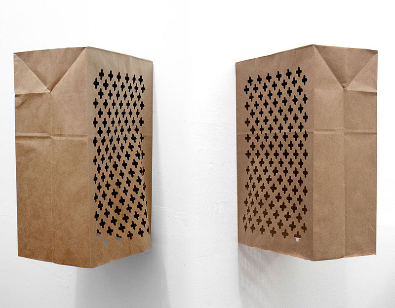 Portable Confessionals, handcut paper grocery bags, 2012.: Portable Confessionals, handcut paper grocery bags, 2012.