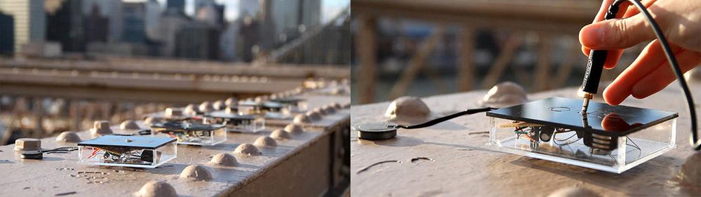 Caitlin Morris: Bridge Whispers: Magnets, Piezoelectric Discs, 1/8 Audio Jacks, Custom Audio Amplification Circuit