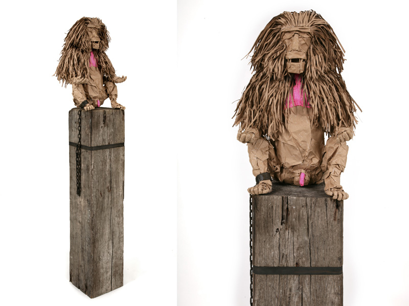 Indentured Transcendence: Indentured Transcendence, 2009, paper over armature, wood and steel