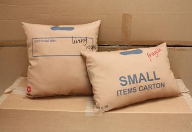Carton Pillows, multicolor double-sided screenprint on cotton sateen, 2010.
