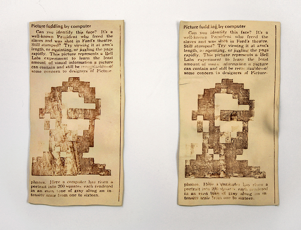 Leah Wolff: Picture Fuddling by Computer, 2014, photo transfer on clay, each 12 x 6 1/2 in