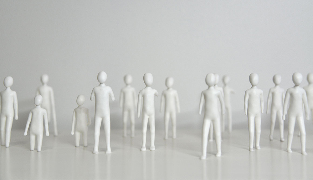 Selected figures from The Population, laser sintered nylon plastic