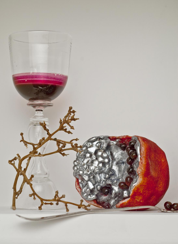 """Pomegranate (Inverted Vanitas), 2010, Pate De Verre, Blown Glass, Mirror"