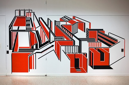 BUG OUT, 2014: Black masking tape and spray enamel, 10' x 16' (Installation at El Museo del Barrio)